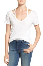 Pam And Gela Women's Split V Neck Burnout Tee Burnout White