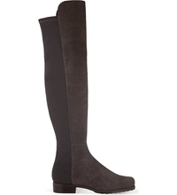 Stuart Weitzman 5050 Suede Riding Boots Grey