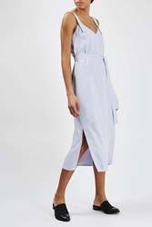 Double Layered Crepe Slip Dress By Boutique Pale Blue