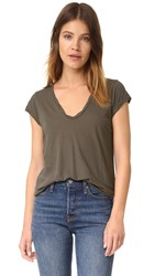 James Perse High Gauge Jersey Deep V Tee Army Green