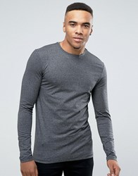 New Look Muscle Fit Long Sleeve Top In Grey Grindle