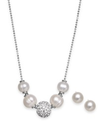 Honora Style Cultured Freshwater Pearl 6Mm And Crystal 10Mm Jewelry Set In Sterling Silver White