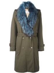 Forte Couture Fur Trimmed Military Coat Green