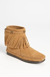 Women's Minnetonka Fringed Moccasin Bootie Taupe