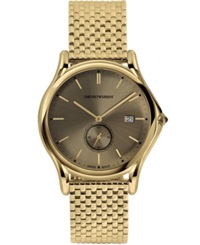Emporio Armani Men's Swiss Gold Ion Plated Stainless Steel Bracelet Watch 40Mm Ars1008
