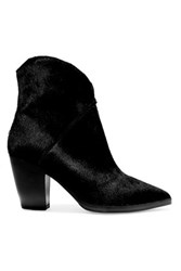8 Calf Hair Ankle Boots Black