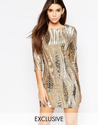 Tfnc All Over Sequin Mini Dress With 3 4 Sleeve Goldpatternsequin