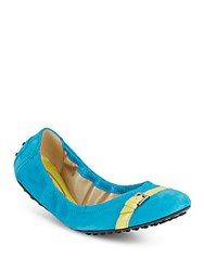 Tod's Suede Ballerina Flats Turquoise