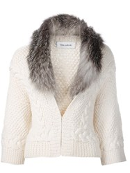 Yigal Azrouel Collar Trim Cardigan White