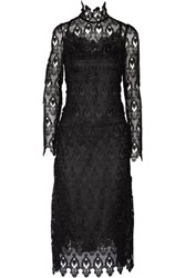 Dolce And Gabbana Lace Tulle Midi Dress Black