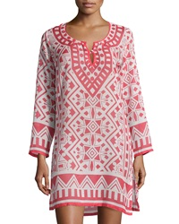 Raj Moroccan Printed Long Sleeve Tunic Dress Coral White