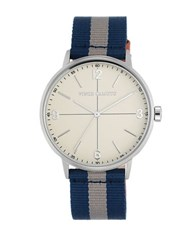 Vince Camuto Stainless Nylon And Leather Strap Watch White