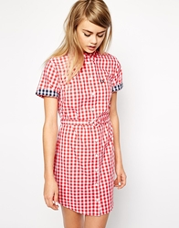 Fred Perry Gingham Shirt Dress Hibiscuspink