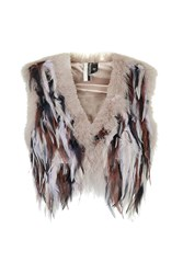 Topshop Feather Gilet Pink