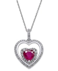 Macy's Ruby 1 1 3 Ct. T.W. And Diamond 1 3 Ct. T.W. Heart Pendant Necklace In 14K White Gold Red