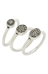 Treasure And Bond Women's Pave Crystal Rings Set Of 3 Clear Rhodium