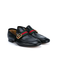 Gucci Classic Gg Web Leather Loafers Black Red Green