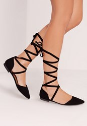 Missguided D'orsay Ballerina Tie Ankle Strap Shoe Black Black