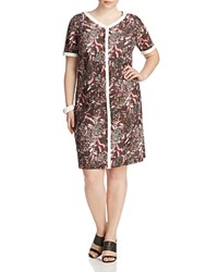 Marina Rinaldi Diece Floral Perforated Dress Bordeaux
