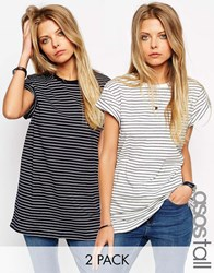 Asos Tall The Easy T Shirt In Stripe 2 Pack Save 15 Whitenavy