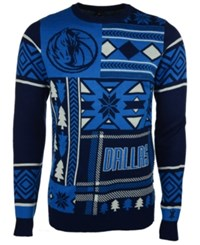 Forever Collectibles Men's Dallas Mavericks Patches Christmas Sweater Blue Gray