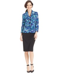 Le Suit Three Button Printed Blazer Skirt Suit Ocean Blue Black