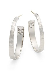 Saks Fifth Avenue Hammered Sterling Silver Hoop Earrings 1.5