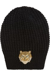 Jennifer Behr Swarovski Crystal Embellished Ribbed Wool And Silk Blend Beanie