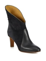 Chloe Kole Leather And Suede Ankle Booties Charcoal