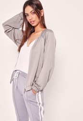 Missguided Satin Zip Through Bomber Jacket Grey