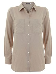 Mint Velvet Patch Pocket Shirt Camel