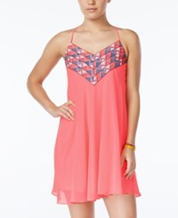 City Triangles City Studios Juniors' Embroidered Crisscross Strap Shift Dress Neon Pink