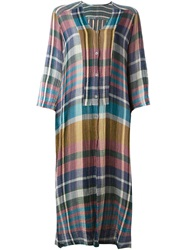 Raquel Allegra Checked Loose Fit Shirt Dress Multicolour