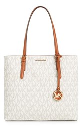 Michael Michael Kors 'Bedford' Top Zip Coated Canvas Pocket Tote White Vanilla Gold