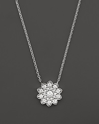 Bloomingdale's Diamond Cluster Flower Pendant Necklace In 14K White Gold .65 Ct. T.W.