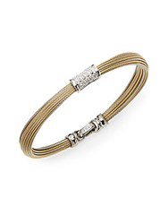 Alor Classique Diamond 18K Yellow Gold And Stainless Steel Bangle Bracelet Gold Silver