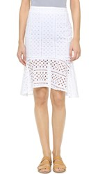 Cupcakes And Cashmere Ingrid Eyelet Ruffle Skirt White