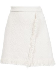 Derek Lam 10 Crosby Frayed A Line Skirt White