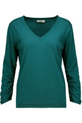 Nina Ricci Lace Trimmed Cotton Silk And Cashmere Blend Sweater Teal