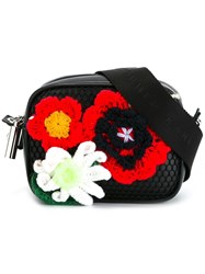 Christopher Kane Crochet Flower Crossbody Bag Black