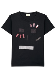 Aries Jeremys Tape Applique Cotton T Shirt Black