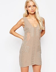 Walter Baker Toni Sheer Panel Beaded Dress Taupe Grey Pink