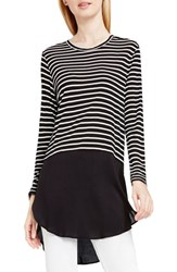 Vince Camuto Women's Two By Mixed Media Crewneck Tunic Rich Black Stripe