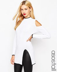 Asos Tall High Neck Tunic With Cold Shoulder And Side Split White