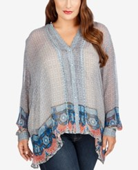Lucky Brand Trendy Plus Size Sheer High Low Blouse Blue Multi