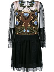 Alberta Ferretti Sheer Embroidered Lace Dress Black