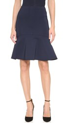 Yigal Azrouel Mechanical Stretch Fit And Flare Skirt Midnight