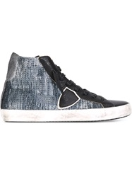 Philippe Model Sequin Hi Top Sneakers Blue