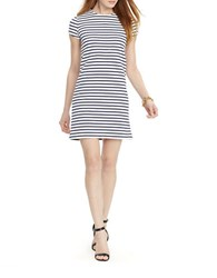 Lauren Ralph Lauren Petite Striped Stretch Tee Dress White Navy