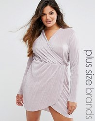 Missguided Plus Size Pleated Plunge Wrap Dress Mauve Pink